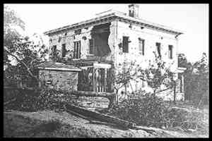 "The Ponder House (sometimes erroneously referred to as the ""Potter House"") , blasted by Union artillery after Confederate sharpshooters nested in the upper story."