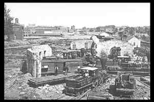 Sherman's army destroyed Atlanta, including the Atlanta Round House. Photo by George N. Barnard, 1864.