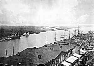 Savannah's riverfront during the Civil War, photographed by George N. barnard.