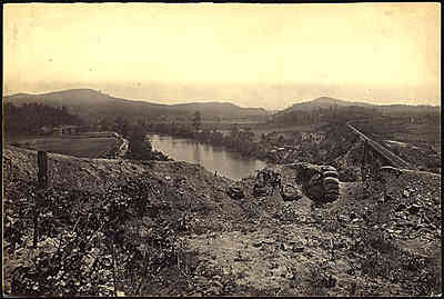 Allatoona pass from the Etowah River bridge, 1865, by George Barnard.