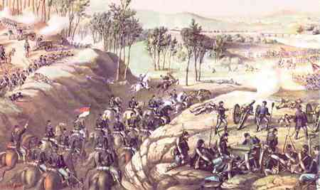 Lithograph of the May 14th Union charge on Confederates at the Battle of Resaca.