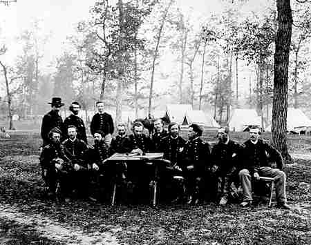 General George Thomas and a group of officers at war council near Ringgold, Georgia, May 5, 1864.