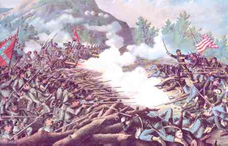Lithograph of the June 27th Union charge on Confederates at the Battle of Kennesaw Mountain.