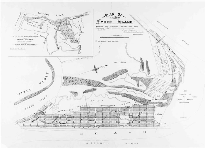 Tybee Island development plan, March, 1890. Click for a larger version (370.61 k), opens new window.